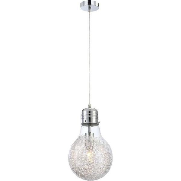 Globo lampada a sospensione led felix vetro cromato 15039