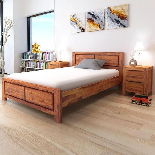 Vidaxl letto e comodini in legno massello di acacia marrone