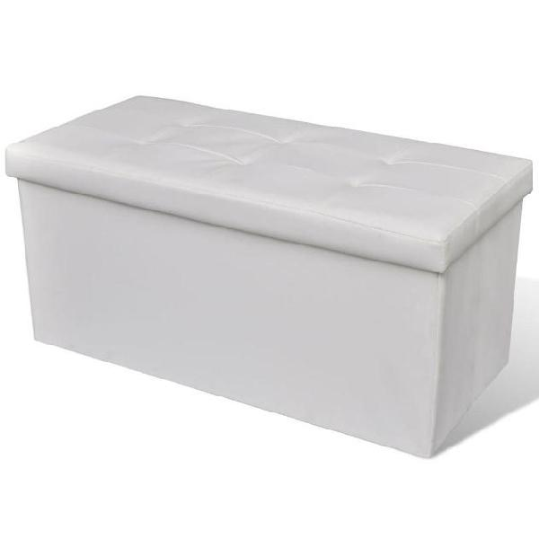 Vidaxl panchina stoccaggio lunga pieghevole bianca