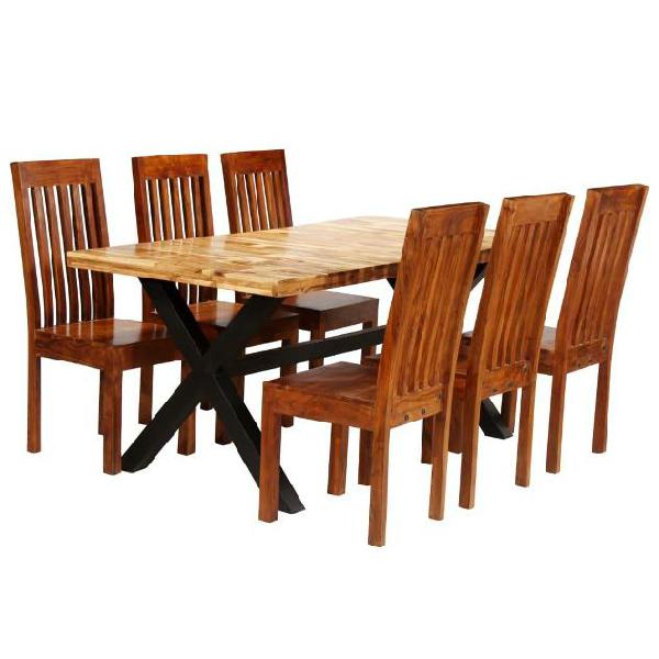 Vidaxl set tavolo da pranzo 7 pz legno massello di acacia e