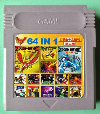 Cartuccia 64 giochi game boy color gbc pokemon giallo oro