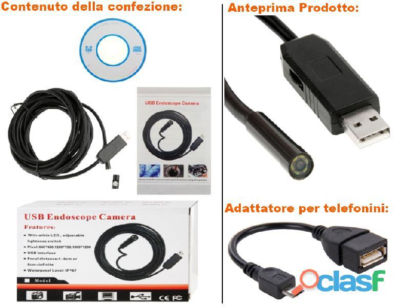Usb telecamera endoscopio ispezione impermeabile