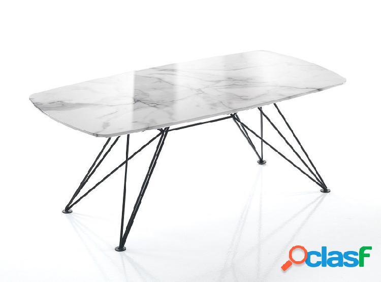 Tavolino 100x50 cm effetto marmo calacatta zampe a spillo