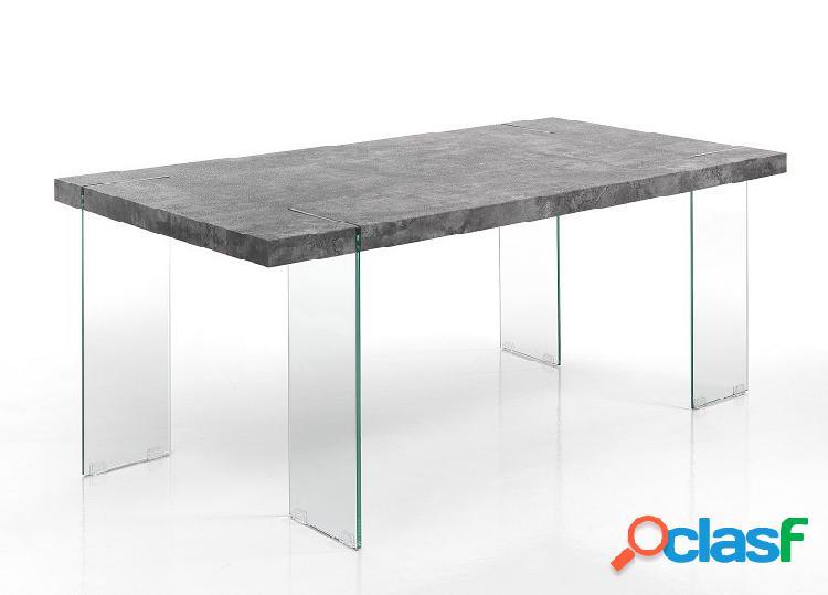 Tavolo fisso da pranzo con zampe in vetro e piana grey