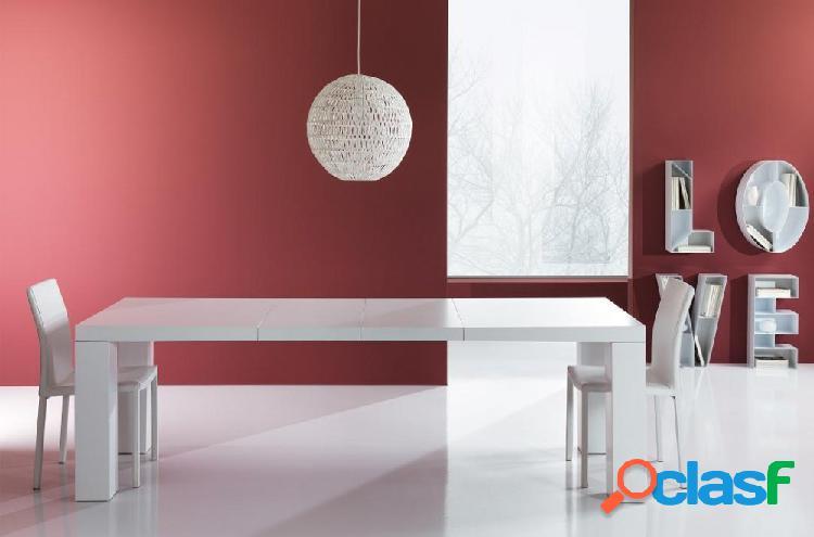 Tavolo moderno bianco opaco allungabile