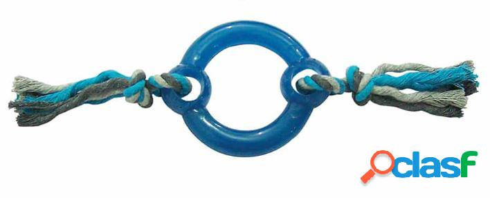 Leopet gioco per cani nodo in cotone grigio/blue con anello in...