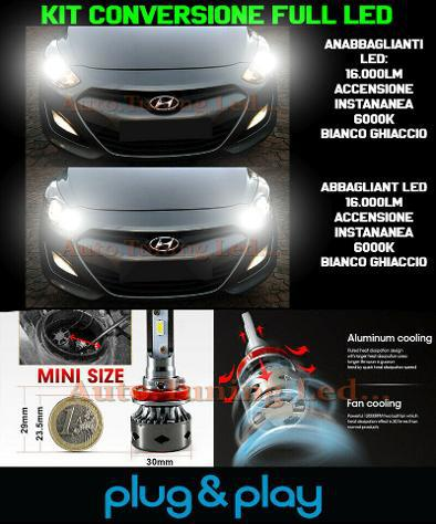 Hyundai i30 ii kit led lampade abbaglianti h7 +