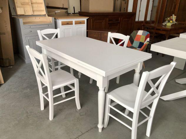 Nuovo tavolo di vero legno finitura bianco laccato 140x80
