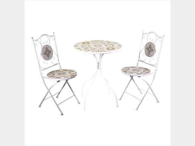 Tavolo metallo udine mosaico tondo 2 sedie