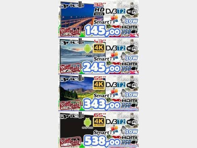 """Televisori led 32"""", 43"""", 55"""" 65"""" dvbt2 u4k smarttv nuovo"""