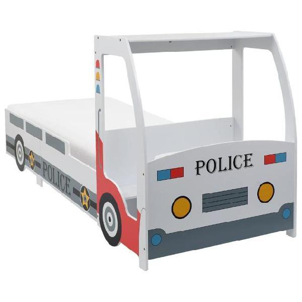 Vidaxl letto bimbo auto della polizia con materasso memory