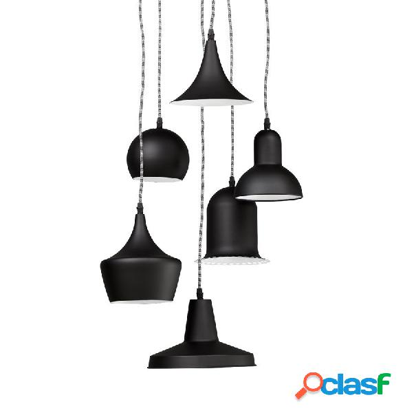 Particolare lampadario sospeso 6 luci con paralumi