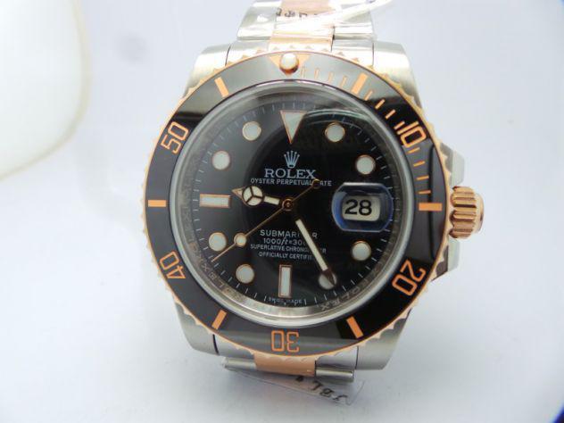 Replica rolex submariner date acciaio/oro ghiera nera e blu