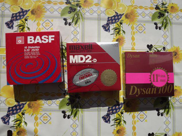 """3 pacchi floppy disk 5.25"""" ds dd sigillati nuovi con"""