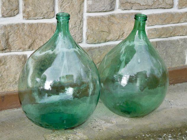 Damigiane antiche in vetro soffiato già pulite e pronte