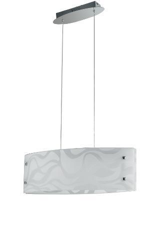 Lampadario vetro bianco disegno onde sospensione moderna led