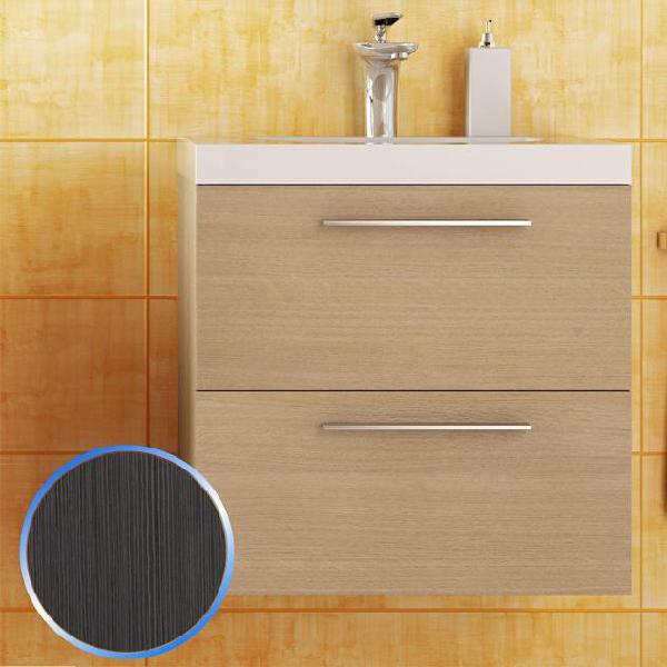 Mobile da bagno sospeso in legno rovere spazzolato 53cm