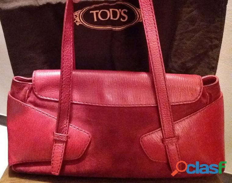 Borsa TOD'S vintage in pelle martellata e scamosciata rossa,