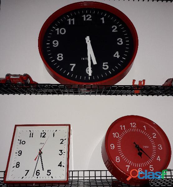 """Trittico"""" red time"""" orologi da parete anni '70 elettromeccanici"""