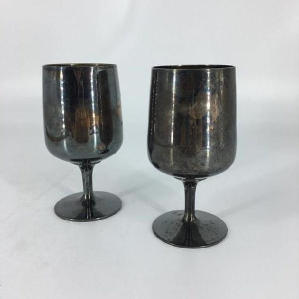 Coppia bicchieri calici metallo