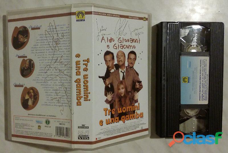 Aldo Giovanni e Giacomo. Tre uomini e una gamba VHS autografata Medusa Video 1997 come nuova