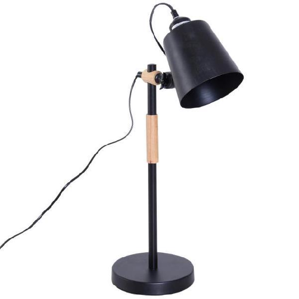 Lampada da tavolo con angolo regolabile in metallo e legno