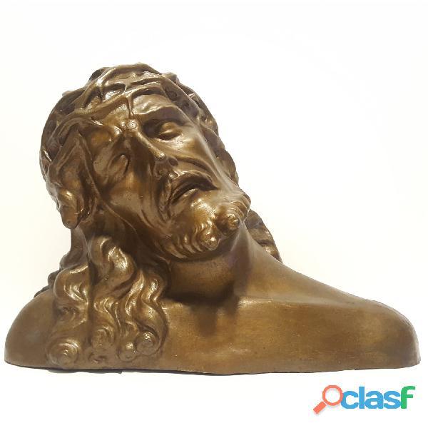 Busto in bronzo di gesù cristo, scultura statua