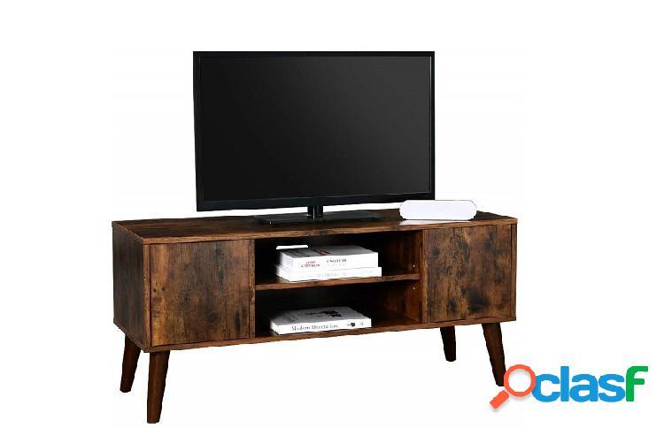 Base Porta Tv in Stile Industriale Vintage con 2 Ante e Vano a Giorno