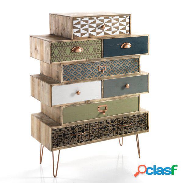 Cassettiera vintage 8 cassetti colorati in legno massello