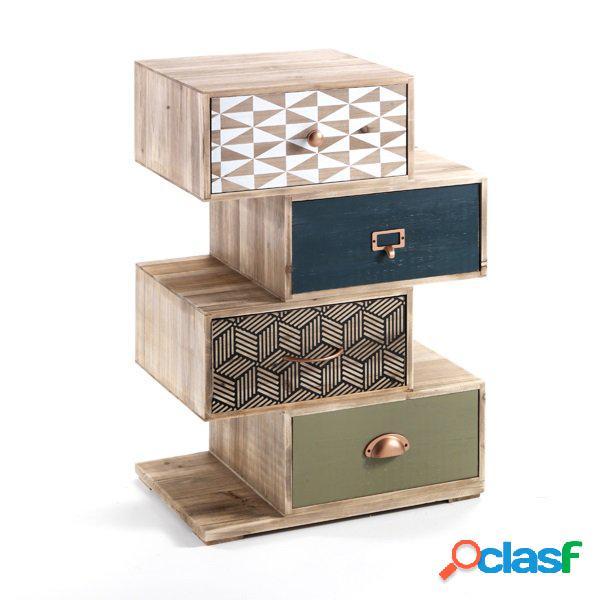 Comodino vintage 4 cassetti colorati sfalsati in legno massello