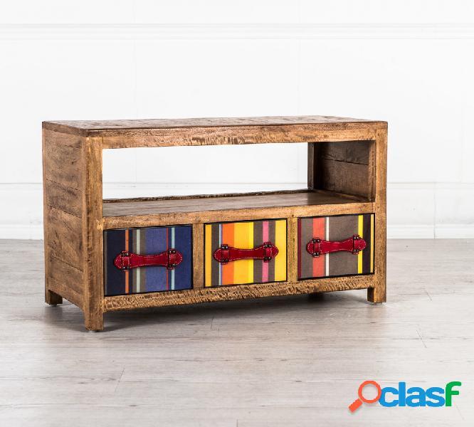 Porta tv in legno massello con cassetti colorati
