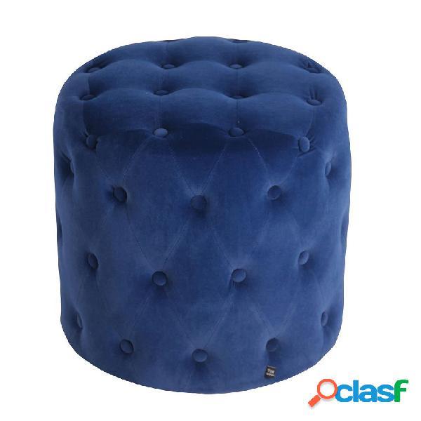 Pouf Tondo Imbottito Trapuntato Velluto Blu Chester