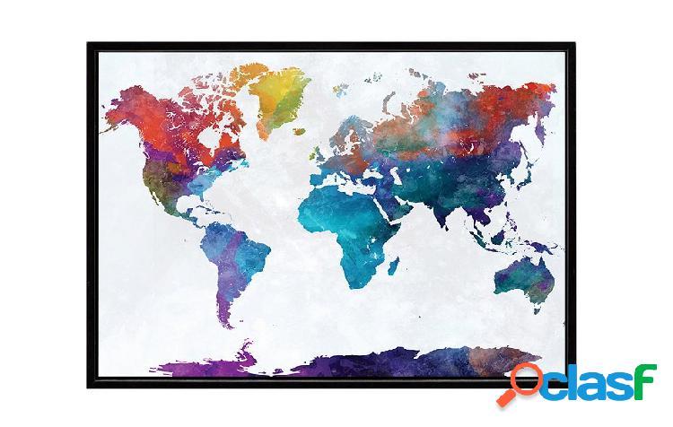 Stampa su Tela con Cornice Mappa Mondo colorata