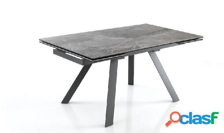 Tavolo Apribile in Vetro Ceramica Finitura Marmo Scuro