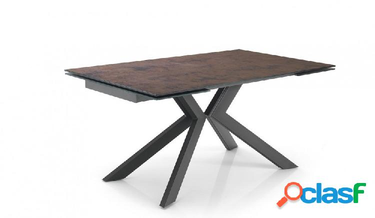Tavolo Apribile in Vetro Effetto Rame per 10 Persone