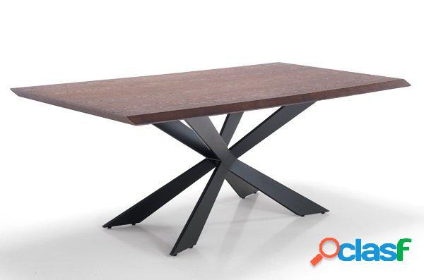 Tavolo fisso con piedi centrali effetto legno