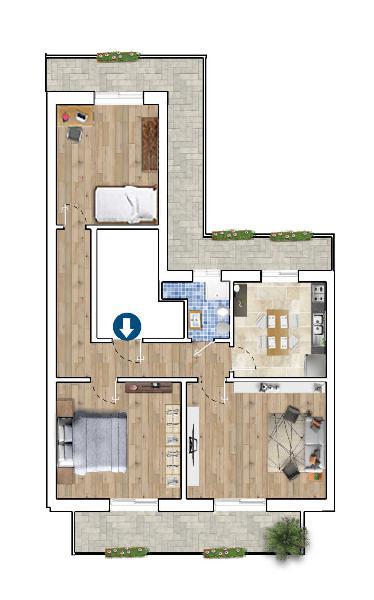 Appartamento - 3 vani a Libertà, Bari