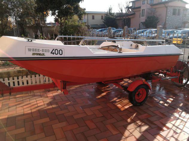 Barca open 400 trimarano autovuotante e carrello
