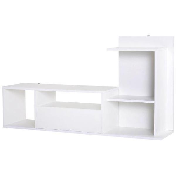Mobile tv con scaffali in legno 120x30x67 cm benzoni bianco