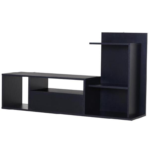 Mobile tv con scaffali in legno 120x30x67 cm benzoni nero