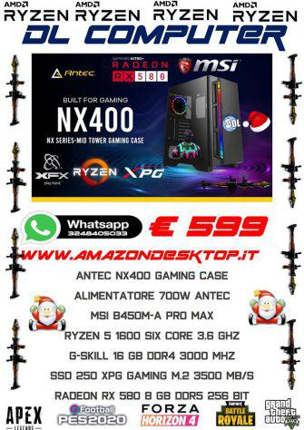 PC Gaming Ultra performante Ryzen 5 16 Gb DDR4 SSD M.2 256