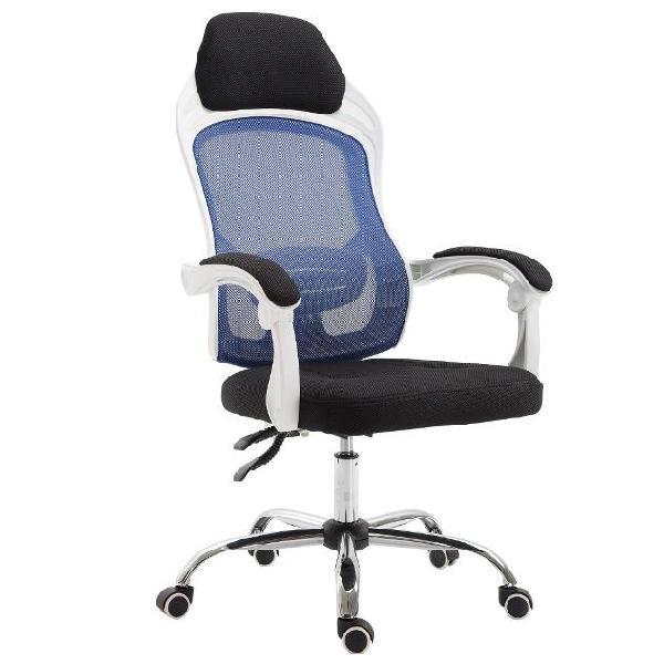 Sedia da ufficio a rete con schienale reclinabile blu e