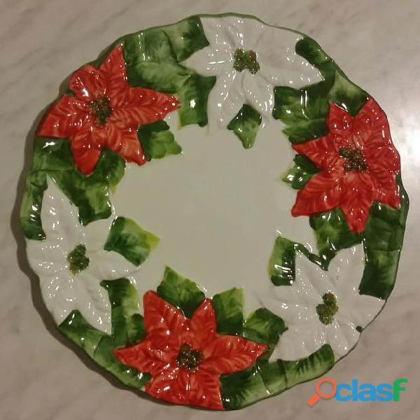 Superbo piatto con motivi floreali natalizi ceramica di Bassano numerato nuovo