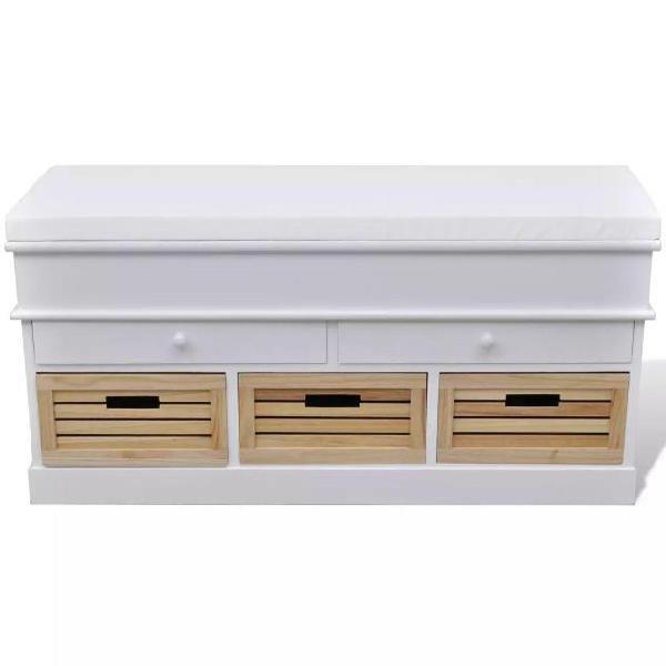 Vidaxl cassapanca per ingresso bianca con cuscino 2 cassetti