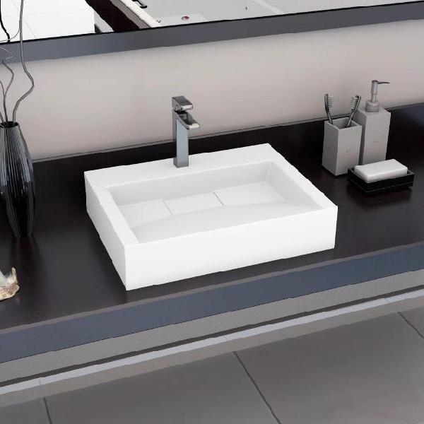Vidaxl lavandino 60x38x11 cm blocco in marmo/minerale bianco
