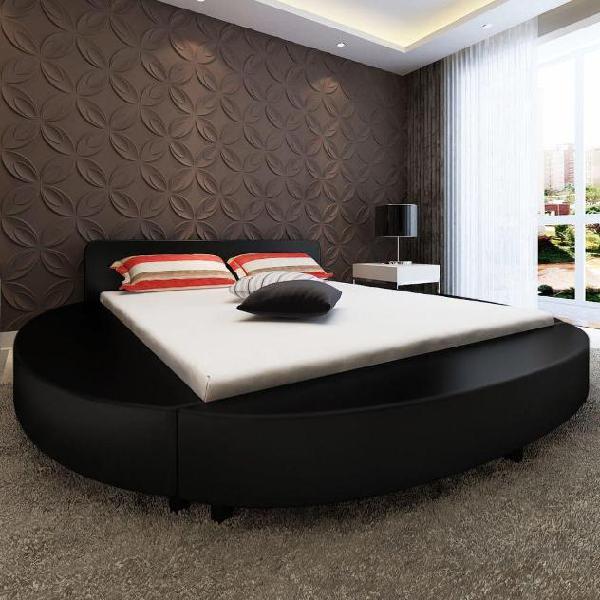 Vidaxl letto con materasso con memoria nero in similpelle