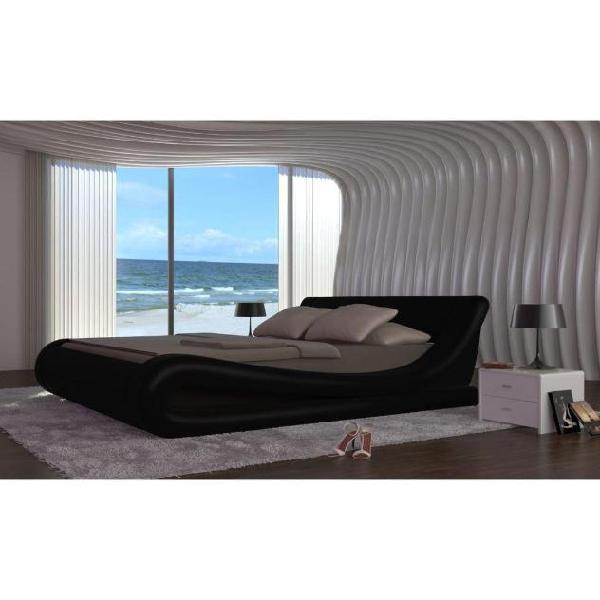 Vidaxl letto matrimoniale moderno180x200cm design nero
