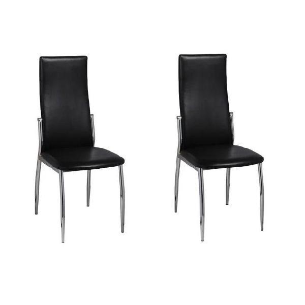 Vidaxl sedie da pranzo 2 pz in pelle artificiale nera