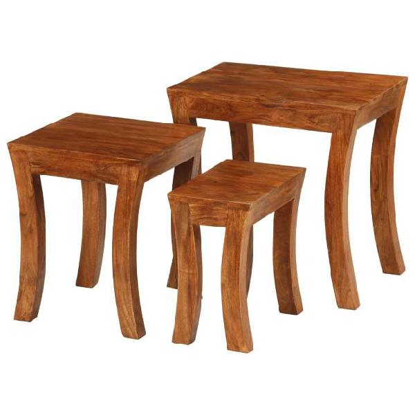 Vidaxl tavolini impilabili 3 pz massello di acacia