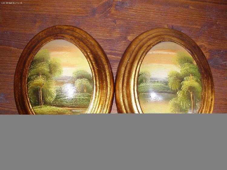 Coppia quadri ovali dipinti a mano